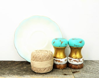 Turquoise Salt and Pepper Shakers - Turquoise Gold White - Modern Kitchen Gift