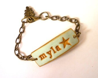 Little star Name bracelet for Girl, Personalized 6 years old girl gift, Mint and gold star
