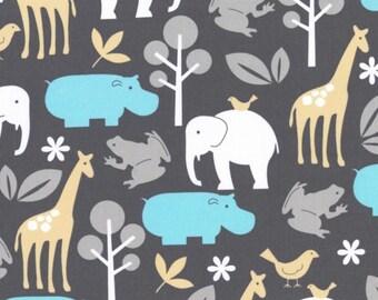 Michael Miller Fabrics Zoology in Sea medium-weight cotton - black, blue, mustard, gray, animals