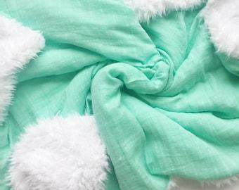 Aqua Gauze Blanket, Cotton Gauze Bedding, Muslin Blanket