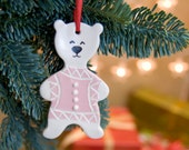Christmas tree decor - set of four teddy bears.