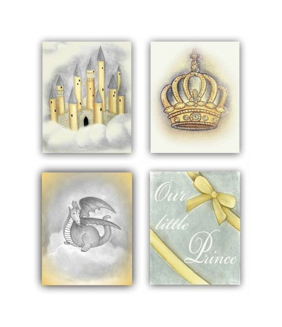 Prince Crown Wall Decoration : Prince baby boy nursery wall art set of by handpainting