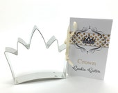 Crown Cookie Cutter Set - Princess Tiara  Tin Cookie Cutters & recipe card Gift Set - baking supplies party favors gift -  cookies