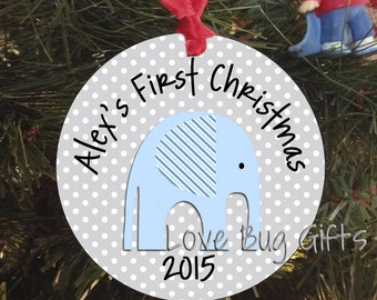 Baby's First Christmas Ornament • Elephant • Personalized