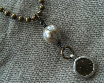 Ancient Coin Pearl Assemblage Pendant Necklace