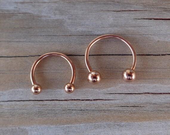 Rose Gold Horseshoe Circular Barbell - 66.6KB