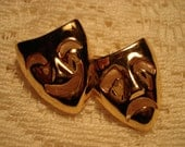 Trifari Theater Masks Comedy and Tragedy Gold Brooch