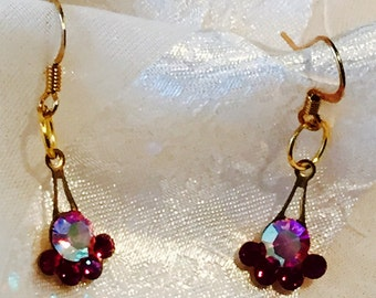 Upcycled Antique Swarovski Earrings AB Cherry Fans handmade jewelry by NorthCoastCottage