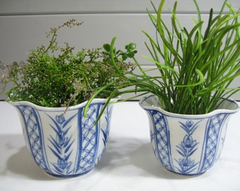 Vintage planters, Flower Pots, Chinoiserie, Herb Containers