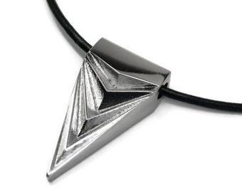 Unisex Necklace, Stainless Steel Jewelry, Arrowhead Pendant, Rocker Necklace, Black Leather Cord, Edgy Jewelry