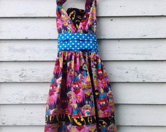 Size 8 Girls Superhero Dress, Wonder Woman Dress, Halter Dress, Toddler Dress, Supergirl, Batgirl, Comic Book Dress, Pin Up Dress
