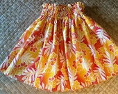 Golden Girl's hula pa'u, hula skirt, Hawaiian skirt, Hawaiian pa'u, aloha wear, lu'au wear, hula dance skirt