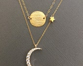 Vermeil Sun and Crescent Moon Necklace, Layered Necklace, layering Gold Moon star necklace, I love you to the moon and back, Moon and Sun