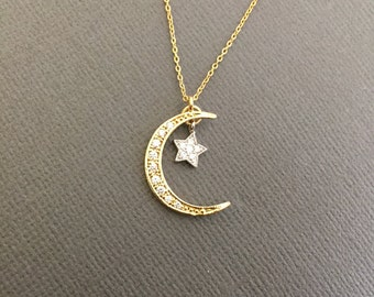 Dainty Moon and a star Necklace, Star and Crescent Moon Necklace, Dainty jewelry, Gold Moon star necklace, I love you to the moon and back