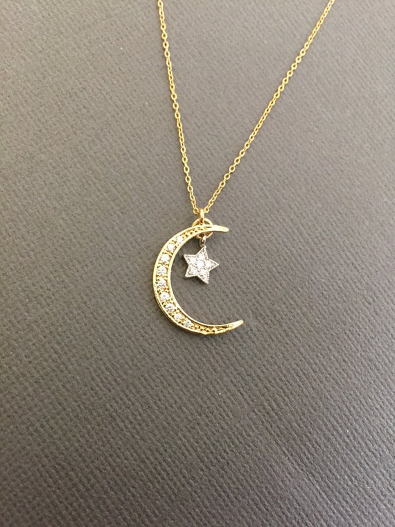 Dainty Moon And A Star Necklace Star And Crescent Moon
