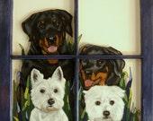 Pet Window, Rottweiler, West Highland Terrier, Recycled Art, Rescue Dogs, Custom Pet Portrait, Dog Art, Wall Hanging, Pet Loss Memorial