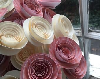 Coral and ivory paper flower bouquet, paper flowers, paper flower wedding arrangement, valenitines bouquet