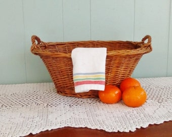 Small wicker laundry basket, oval vintage basket with handles, storage for toys, towels, fruit, kitchen, bath, rustic, farmhouse, cottage
