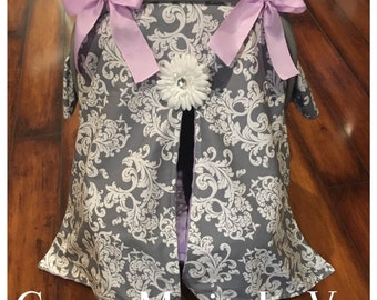 Grey damask car seat canopy and lavender minky