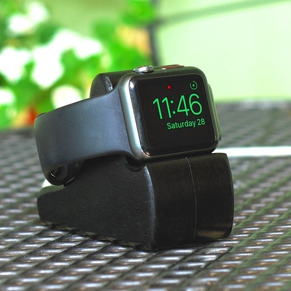 Apple Watch Stand - The RIPPLE in Black - Hides the cable - Perfect for Nightstand Mode.