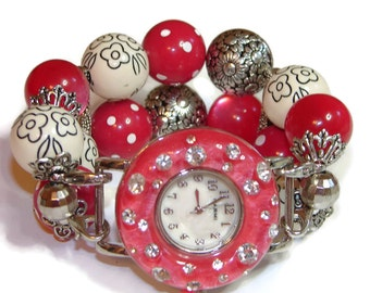 Red White and Flowers Chunky Beaded Watch - Interchangeable Watch - BeadsnTime - Apple Watch Band - Unique Watch - Beaded Watch Band