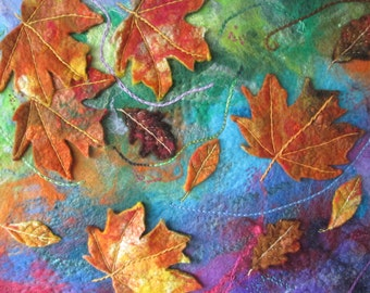 Textile art, felt painting, autumn leaves, large art on canvas, 20 x16 inches