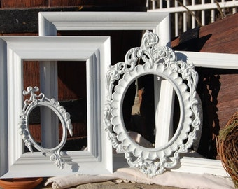 Picture Frame Set  - Ornate Upcycled Picture Frames  - Shabby Chic Decor - Gallery Wall Picture Frame