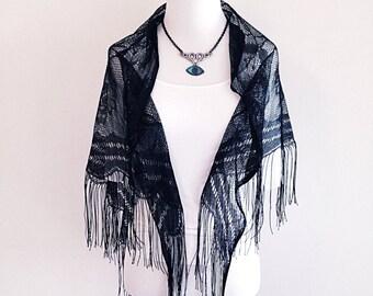 Vintage Dark Boho Goth Black Lace Shawl or Scarf