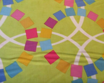 Quilting Weight Cotton Fabric Quilt Blocks Spectrum in Chartreuse designed by Ellen Luckett Baker for Moda 1 yard