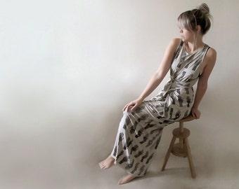 Hand Printed Jersey Maxi Wrap Dress - 'Tarot' print - Stone