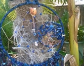 Lapis Lazuli Tree of Life Birthstone Dream Catcher, dream catcher is made for the month of September in brilliant deep blues,handspun yarns