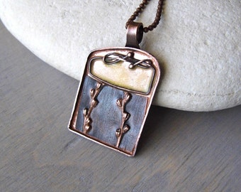 electroformed grass imprint pendant with yellow enamel