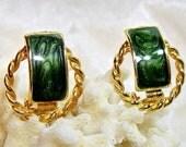 Vintage Enamel Green Earrings Clip On Gold tone