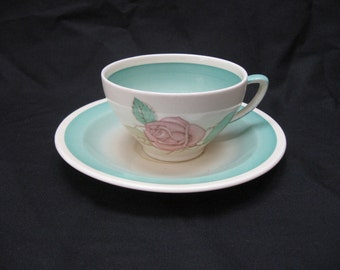 """Vtg Susie COOPER """"PATRICIA ROSE"""" Green Crown Works Burslem Teacup & Saucer Set"""