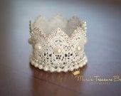 Baby crown, newborn photo prop, pearl crown, silver crown, Lave crown