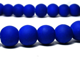 Royal Blue Beads, Rubberized Beads, 10mm Beads, Glass Beads, Round Beads, B1015