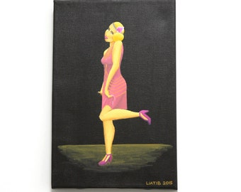 20's fashion girl illustration original painting great as a housewarming gift for fashion lovers and style lovers , gift for a dancer