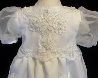 Baby Girl Christening Dress Repurposed from gorgeous Wedding Dress - size 3-6 months