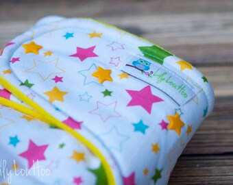 """Hybrid Fitted Cloth Diaper- """"Super Stars"""" woven"""