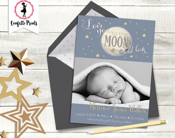 LOVE YOU To The MOON Birth Announcement | Baby Announcement | Birth Card | Baby Boy Announcement | Cute Baby Announcement | Printable