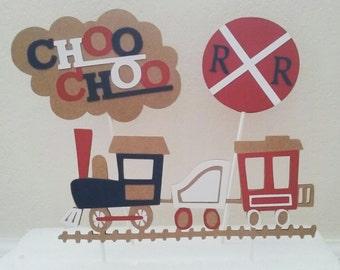 Train Cake Topper Set-Train Birthday- Train Centerpiece Set