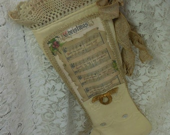Christmas Stocking with Hark the Herald Angels Sing Music - Done in Vintage linen.