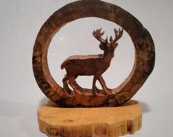 Wood Deer, Wildlife Deer, Wood Buck, Wildlife Decor, Nature Decor, Deer Artwork, Spalted Wood, Wood Slice
