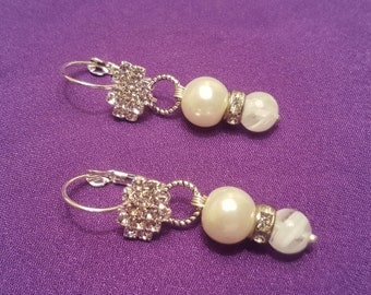 Spectacular Clear Rhinestone Crystal and White Pearl Pierced Earrings Wedding Ready or Special Occasion