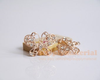 2pcs fashion  crystal butterfly Alloy jewelry accessories materials supplies