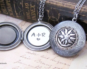Edelweiss Personalized Locket Necklace, Custom Hand Stamped Antique Silver Edelweiss Locket Necklace