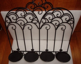 Large Unique Scrolled Black Wrought Iron Wall Decor / Wall Sconce Fold Up Candle Holder (Sale Price)
