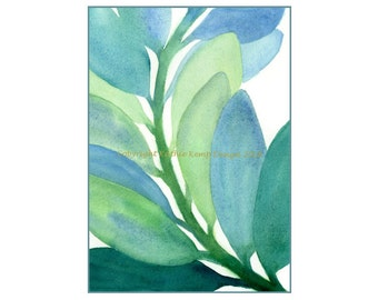 Modern Leaves Abstract Watercolor Painting Giclee Print Mint Blue Aqua Green 5X7 Minimalist Art Home Wall Decor Beach House Cottage Chic