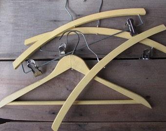 Yellow Vintage Clothes Hangers Wedding Hangers Set of 4