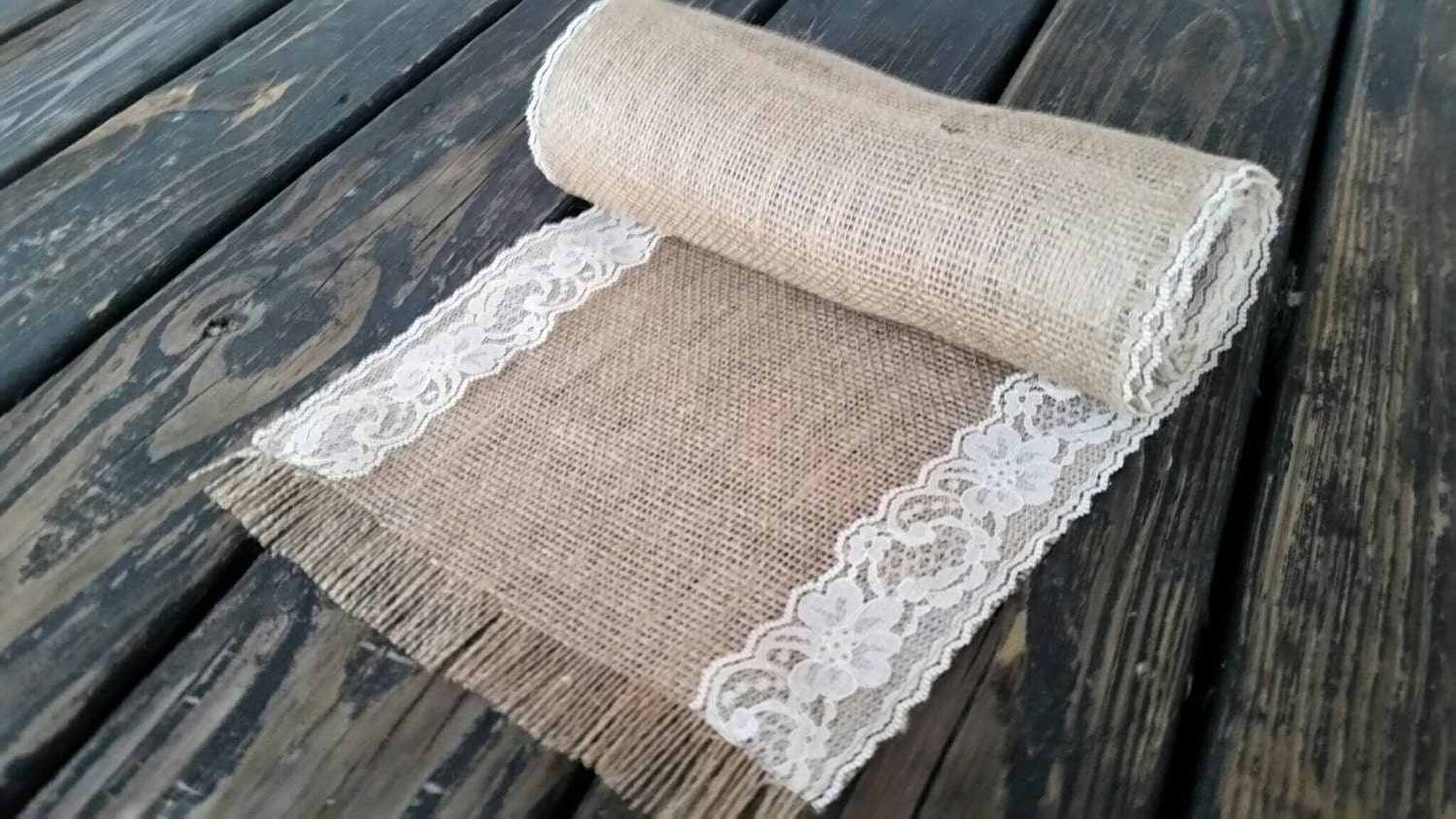 Table runner 10 inch wide by 72 inch long lace and burlap for 10 foot table runner